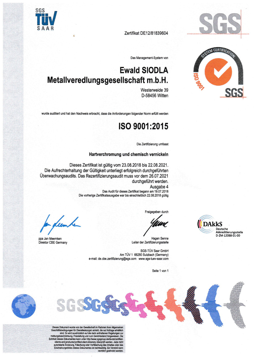 Siodla GmbH - TÜV zertifiziert nach ISO 9001